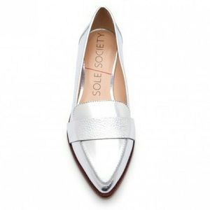 Sole Society Metallic silver loafers